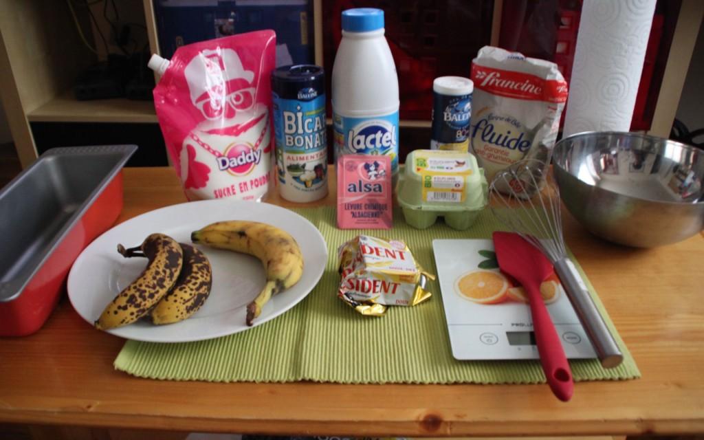 Les ingrédients pour un banana bread